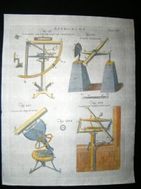 Science & Tech C1790 Hand Col Print. Astronomy, Quadrant, Telescope